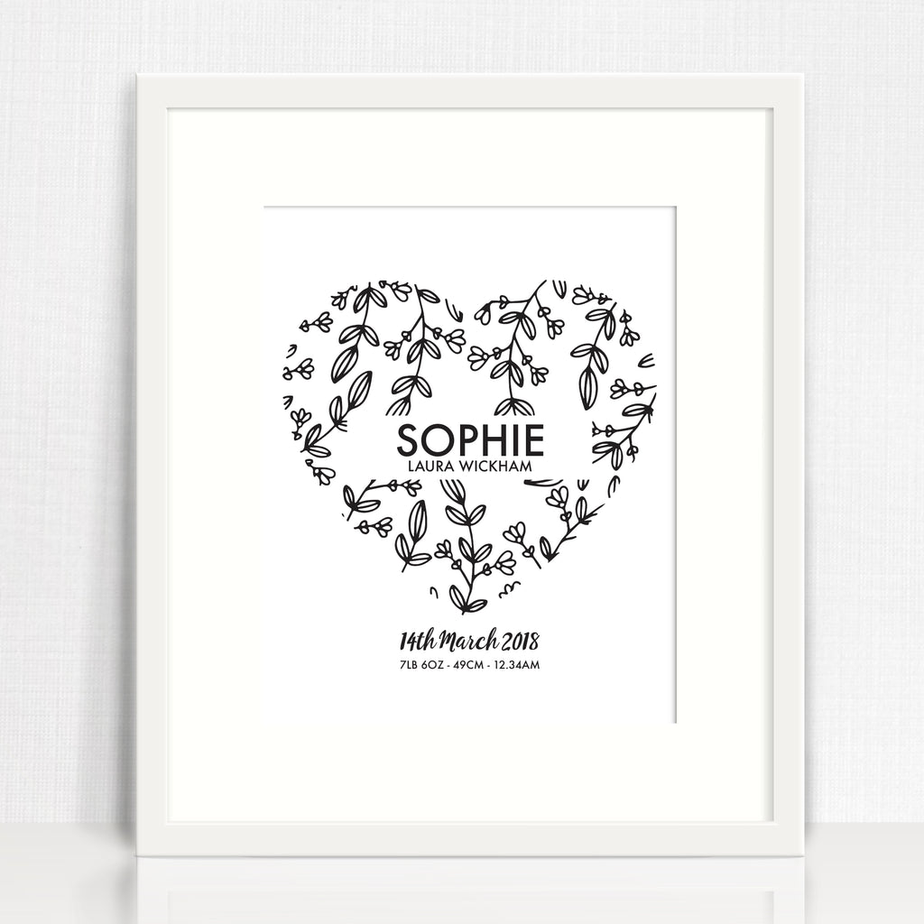 Botanical Heart Birth Print