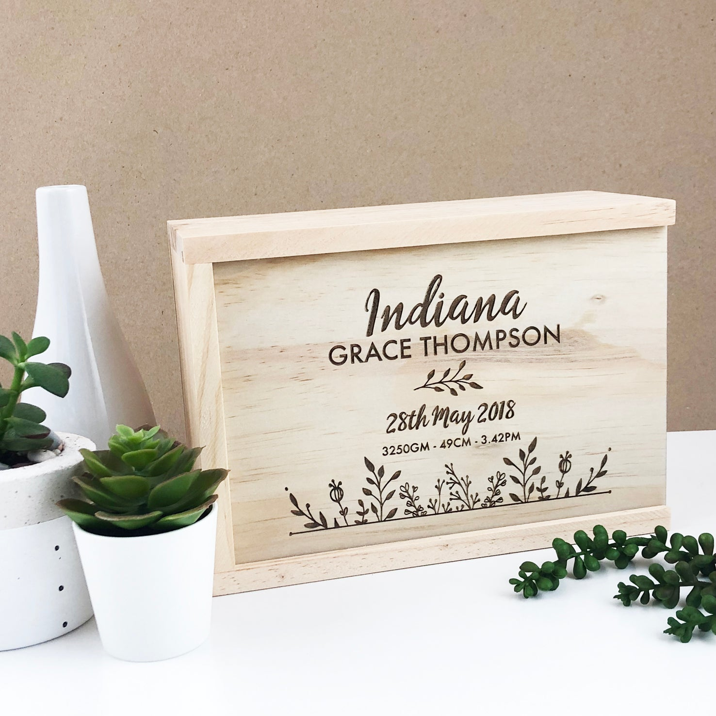 Botanical Birth Details Keepsake Box