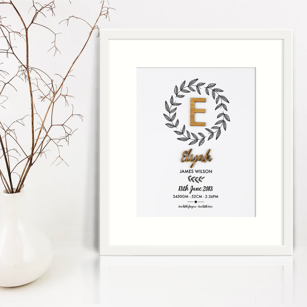 Botanical Wreath Bamboo (2 colour options) Birth Print