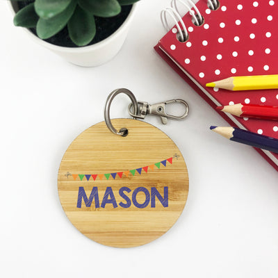Boys Bunting Personalised Bag Tag