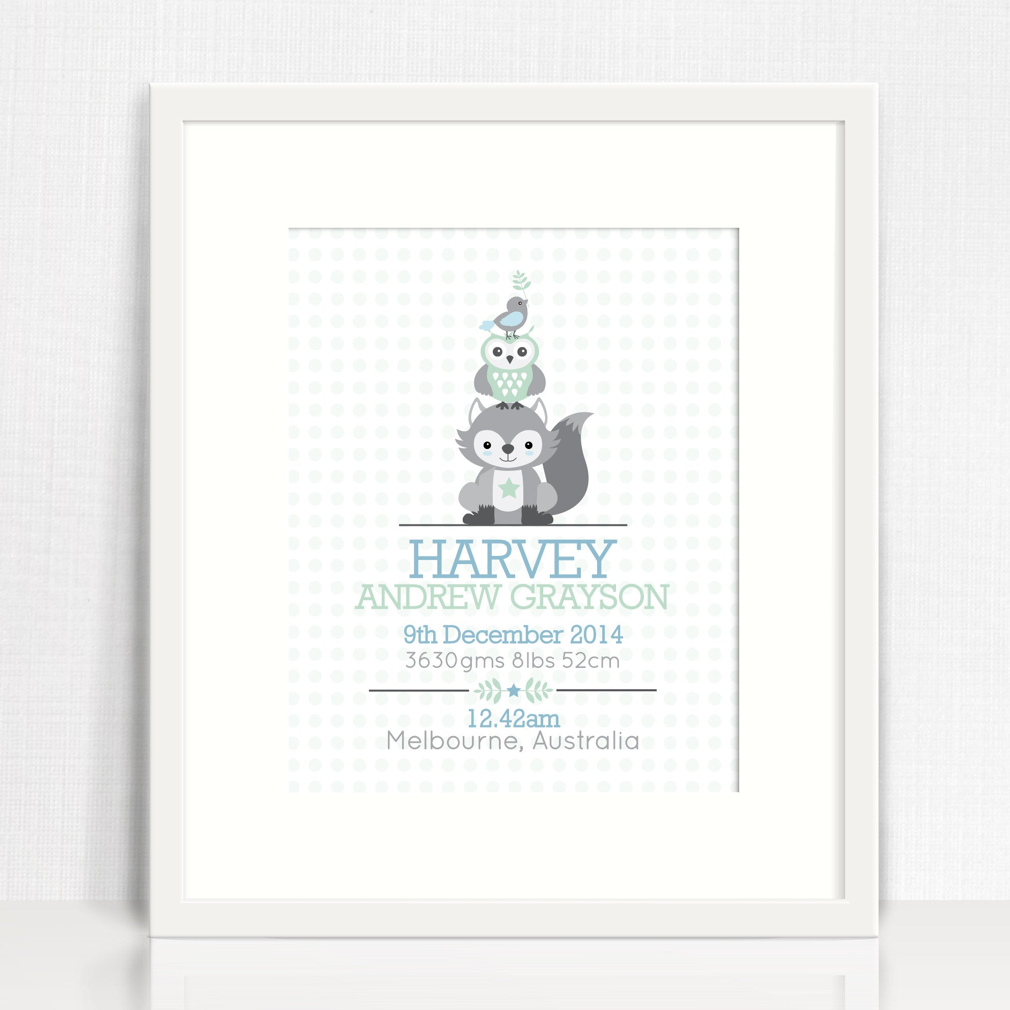 Boys' Animal Stack Birth Print