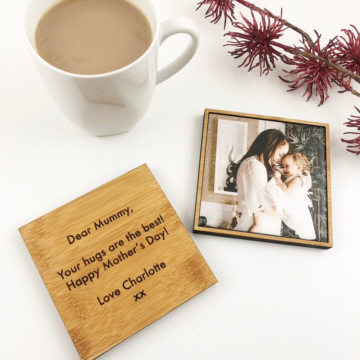 Double Sided Ceramic & Bamboo Photo Drink Coaster