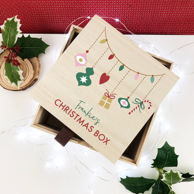 Personalised Garland Christmas Box with Tab