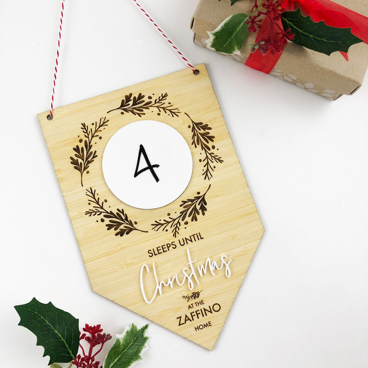 Christmas Countdown Bamboo Wall Hanging