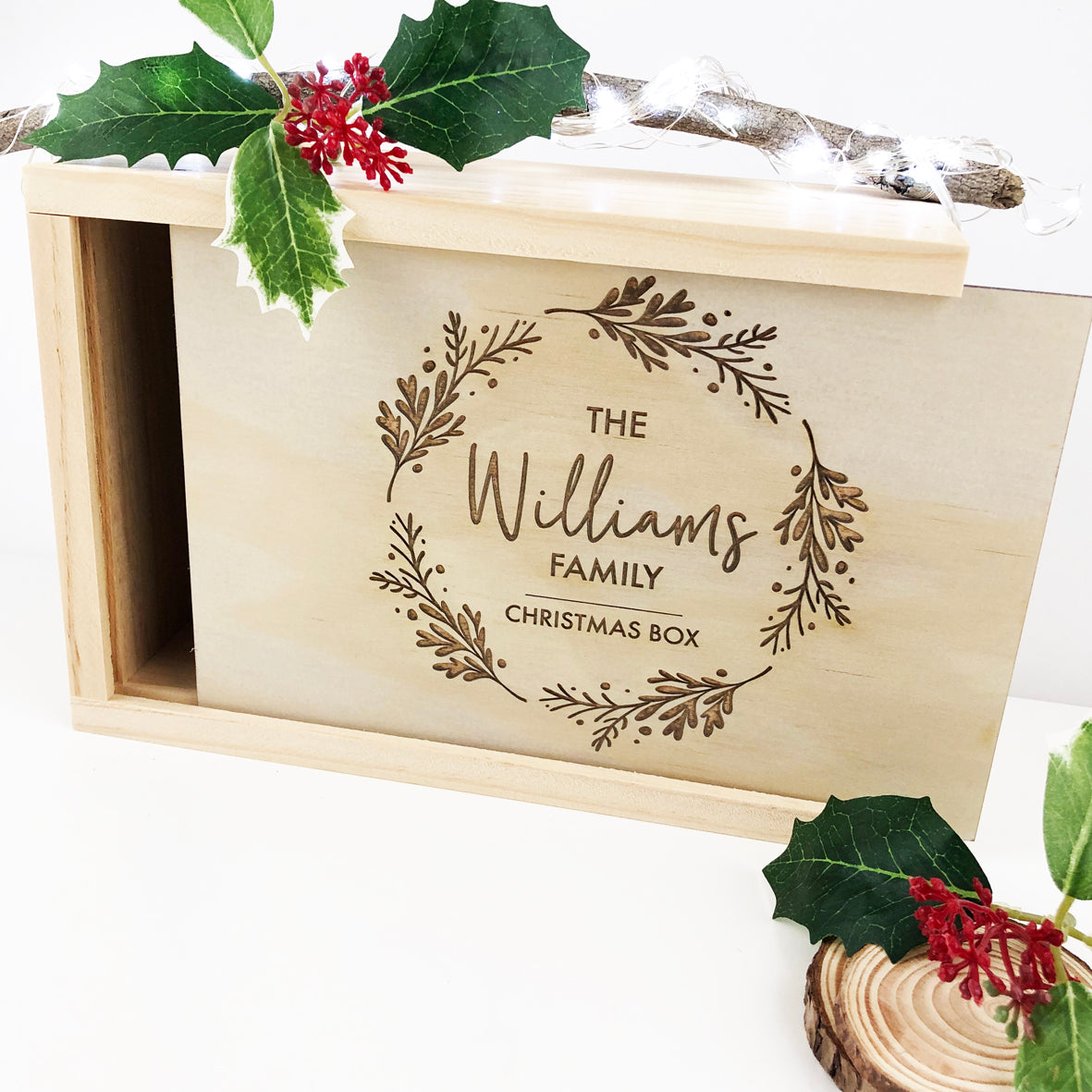 Personalised Wreath Christmas Box