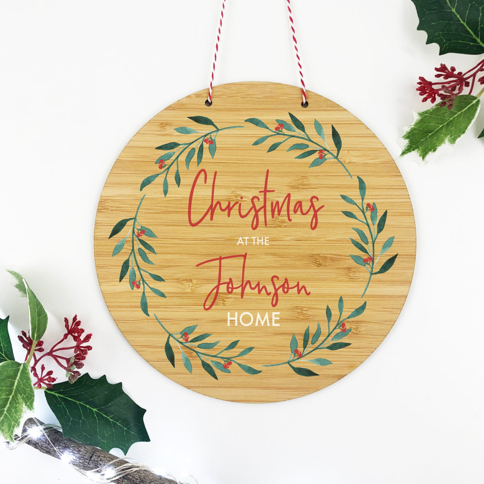 Christmas Wreath Family Wall Plaque