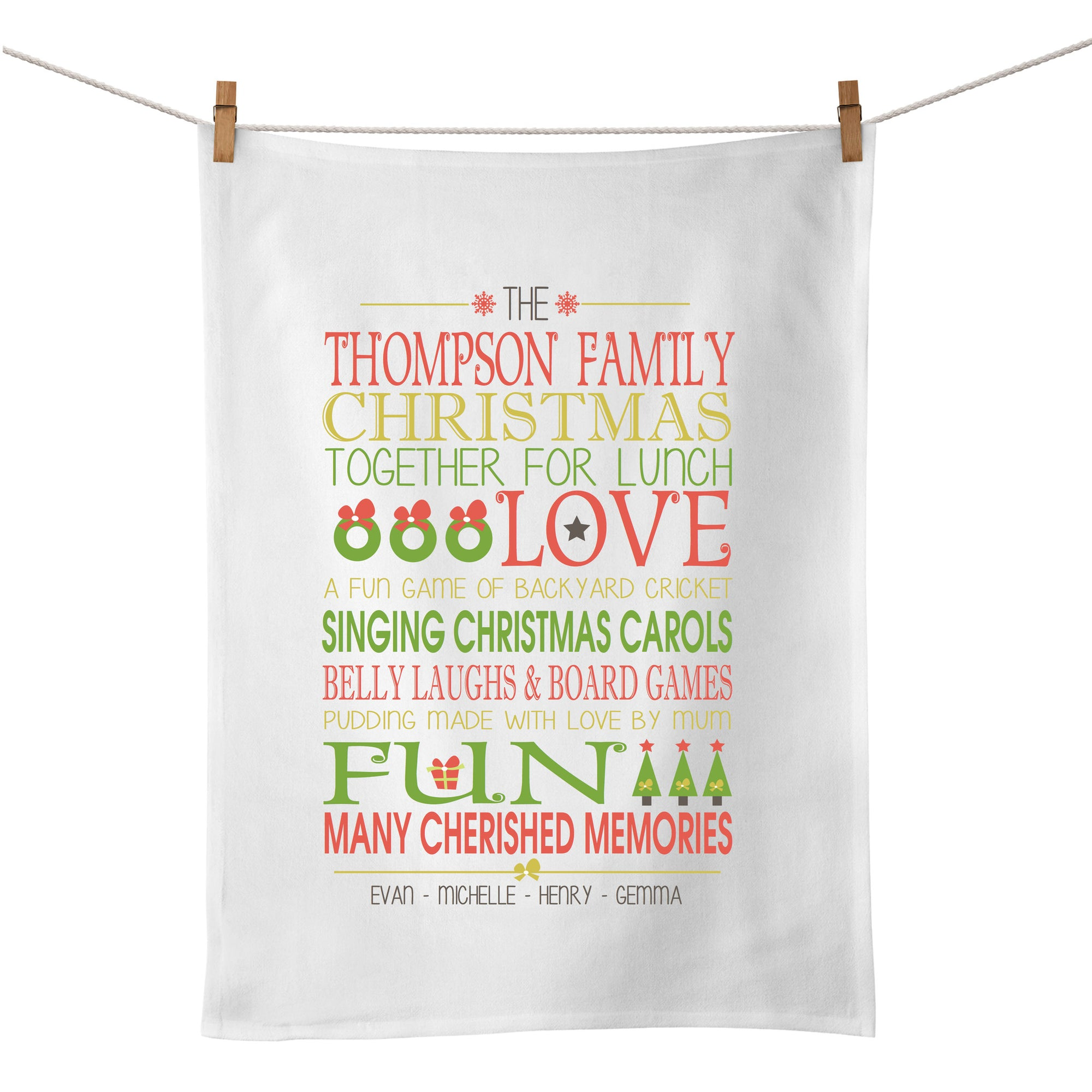 Christmas Bus Scroll Tea Towel