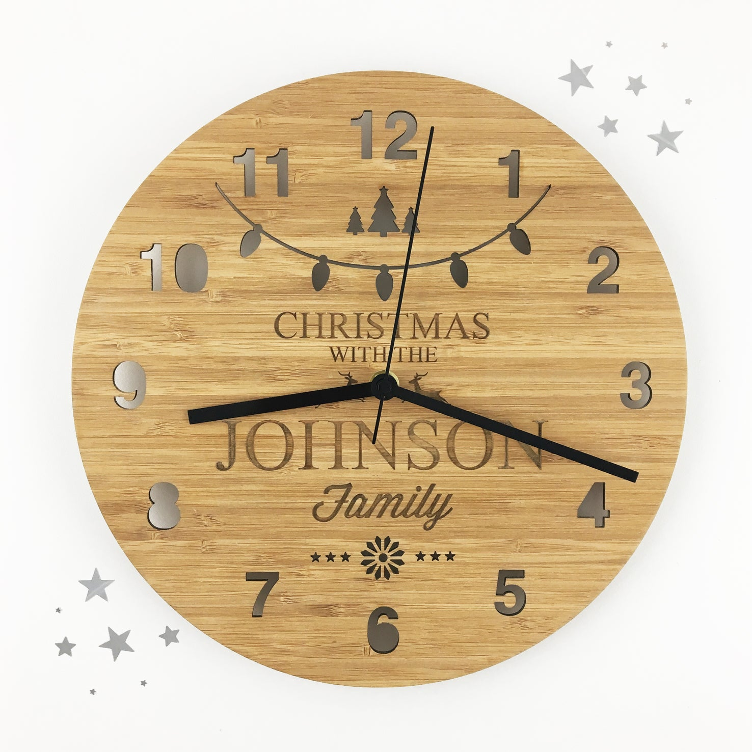 Christmas Bamboo Wall Clock