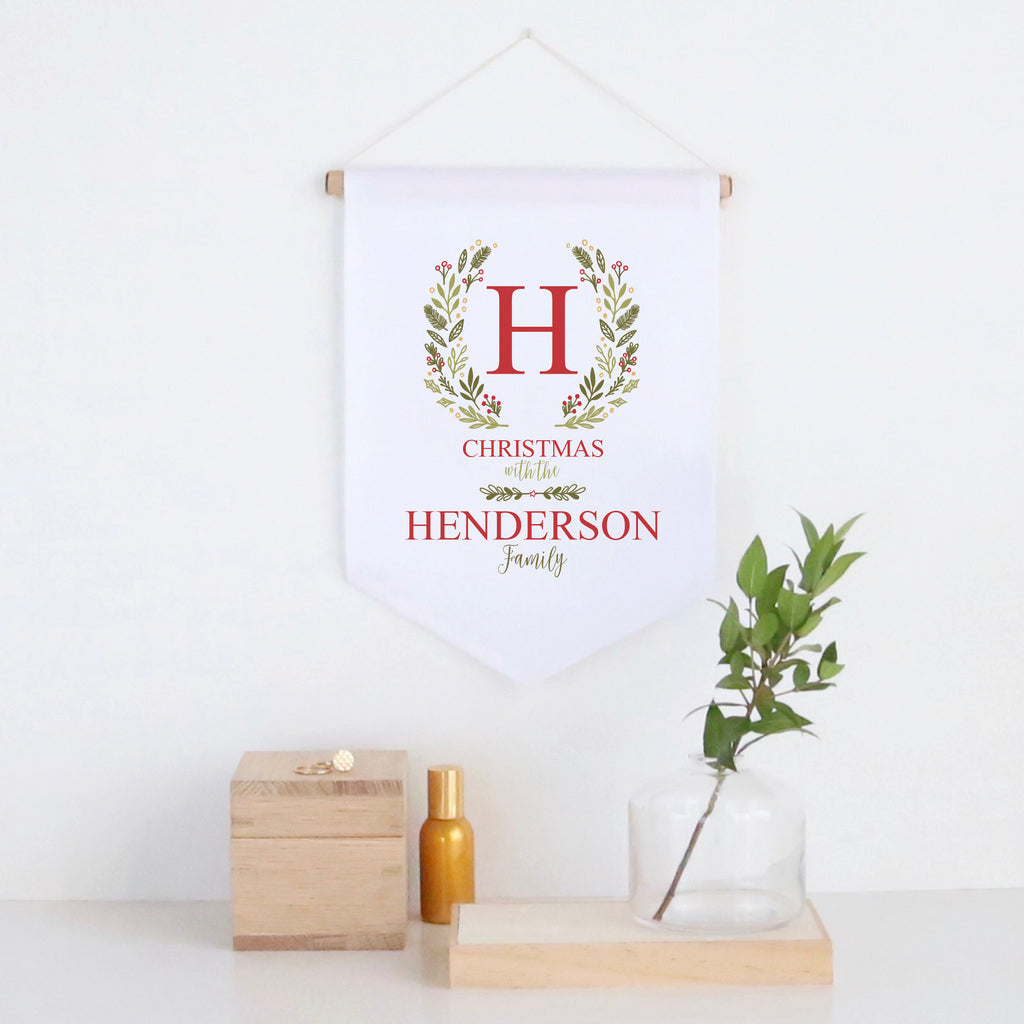 Christmas Initial Wreath Pennant Wall Banner