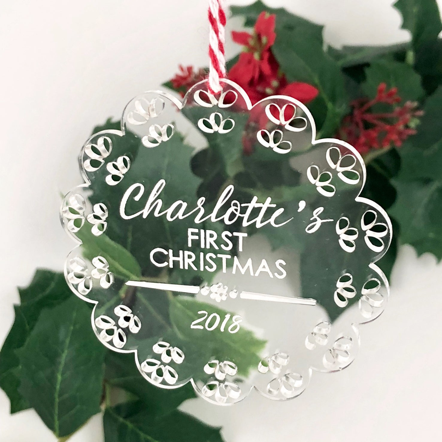 Baby S First Christmas Ornament Clear Acrylic Lace Colour And Spice Pty Ltd