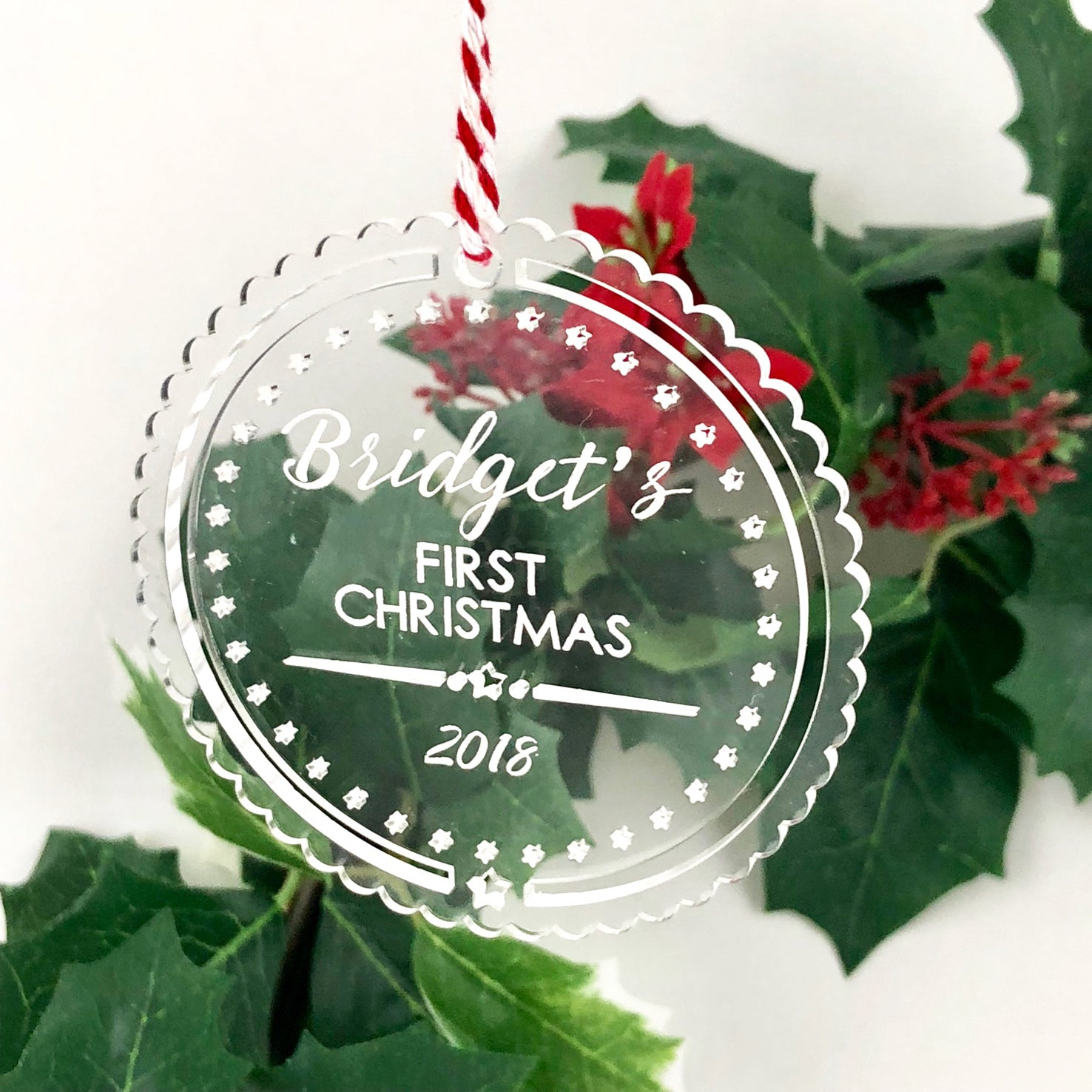 Baby S First Christmas Ornament Clear Acrylic Stars Colour And Spice Pty Ltd