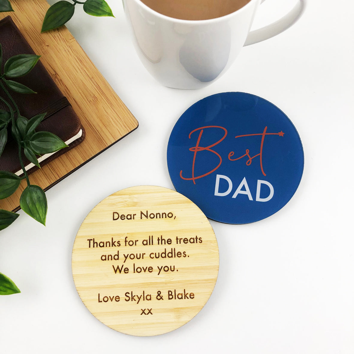 Double Sided Text Personalised Drink Coaster