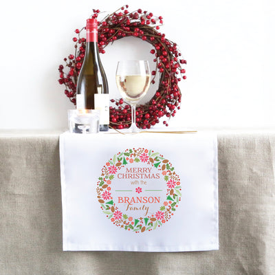 Colourful Wreath Christmas Table Runner