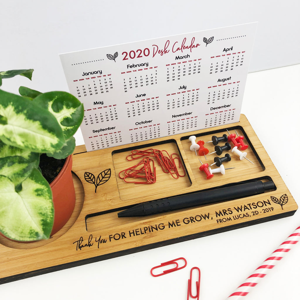 Personalised Teacher Bamboo Desk Organiser