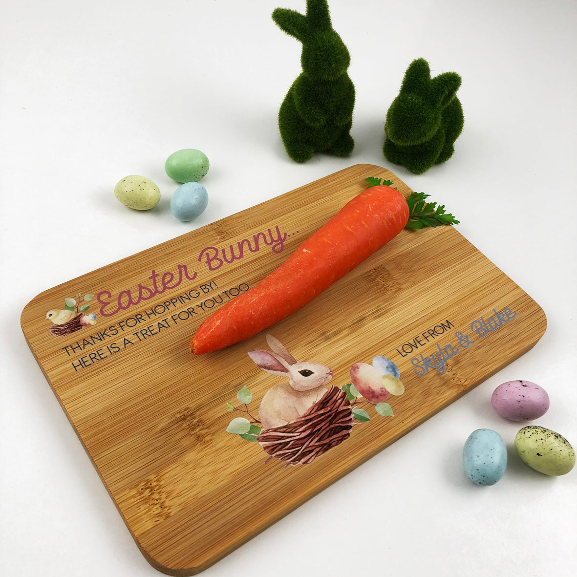 Personalised Easter Printed Bamboo Serving Board