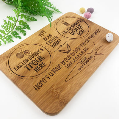 Double Sided Personalised Christmas & Easter Bunny Treats Bamboo Serving Board