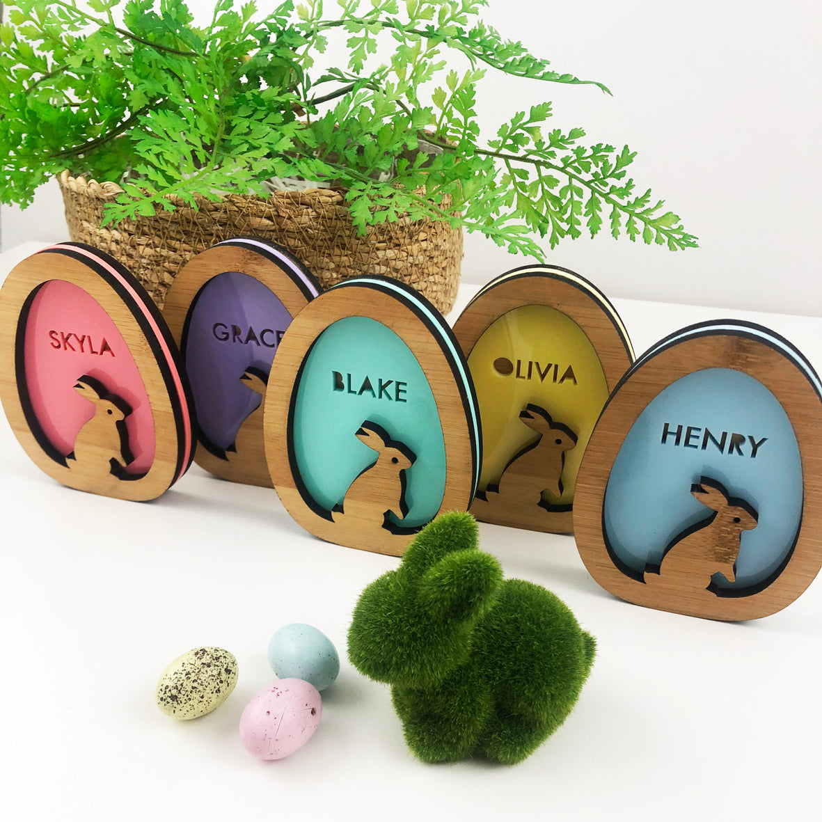 3D Egg Name Decorations - Acrylic (5 colours)