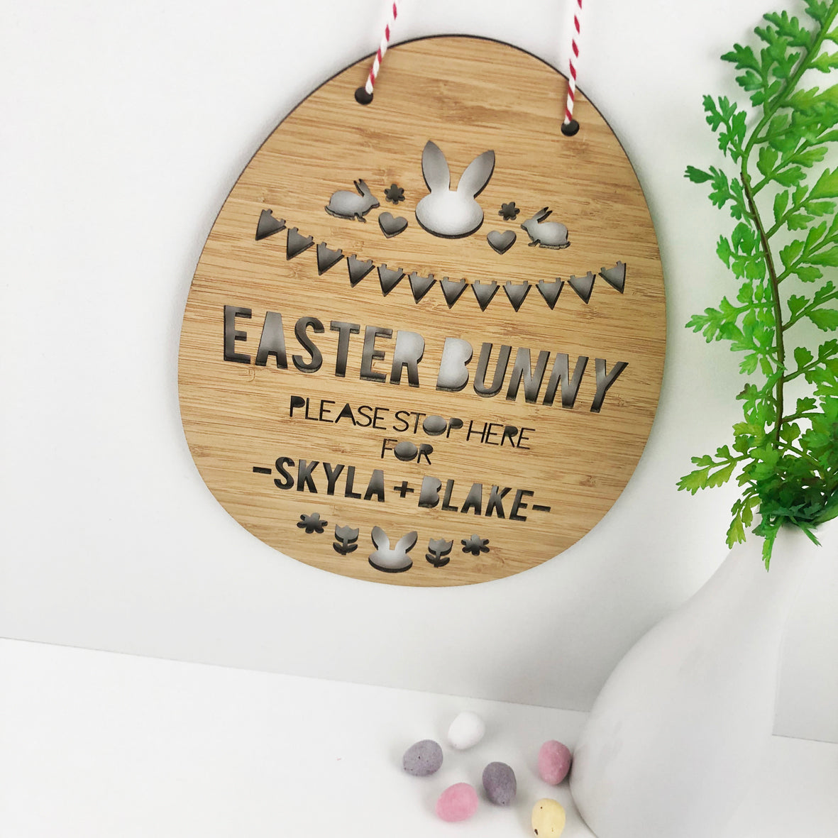 Easter Bunny Please Stop Here Wall Hanging