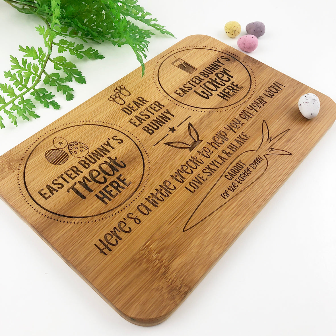 Personalised Easter Bunny Treats Bamboo Serving Board