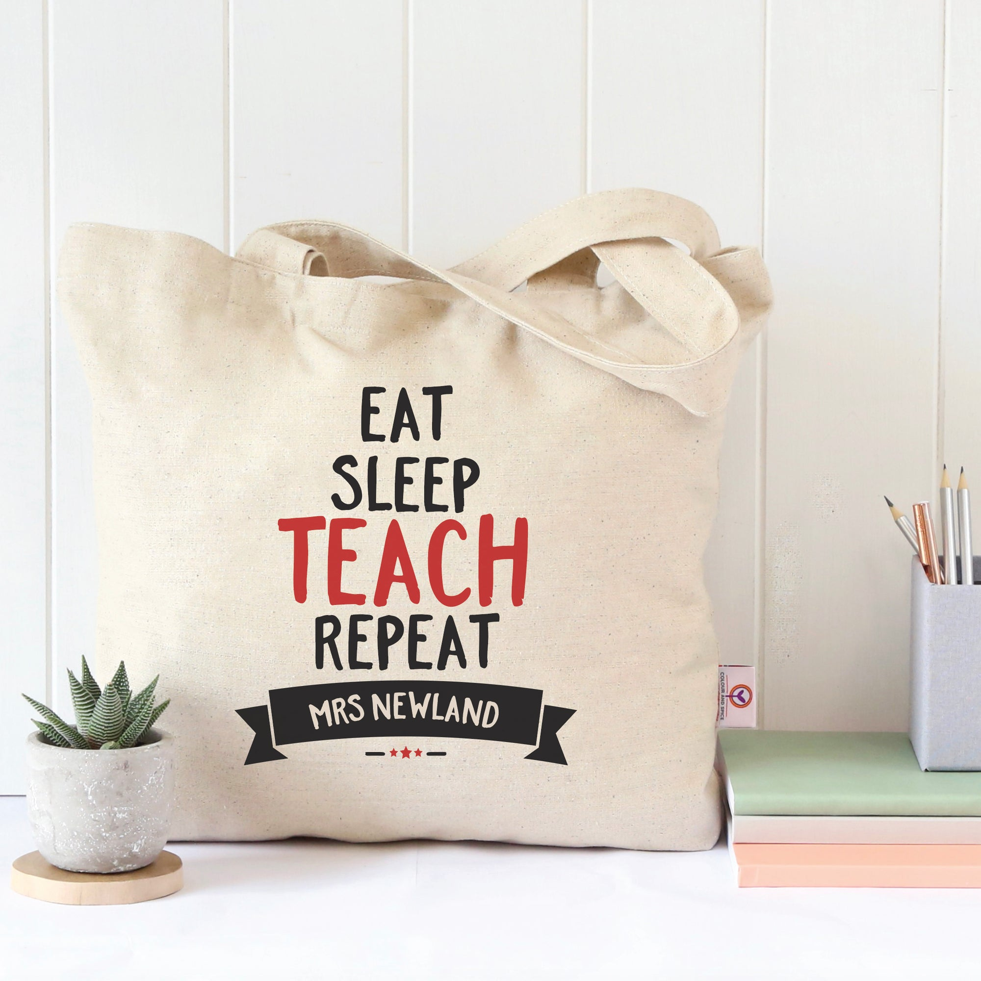 Eat Sleep Teach Repeat Tote Bag