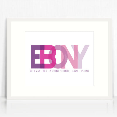 Ebony Name Birth Print