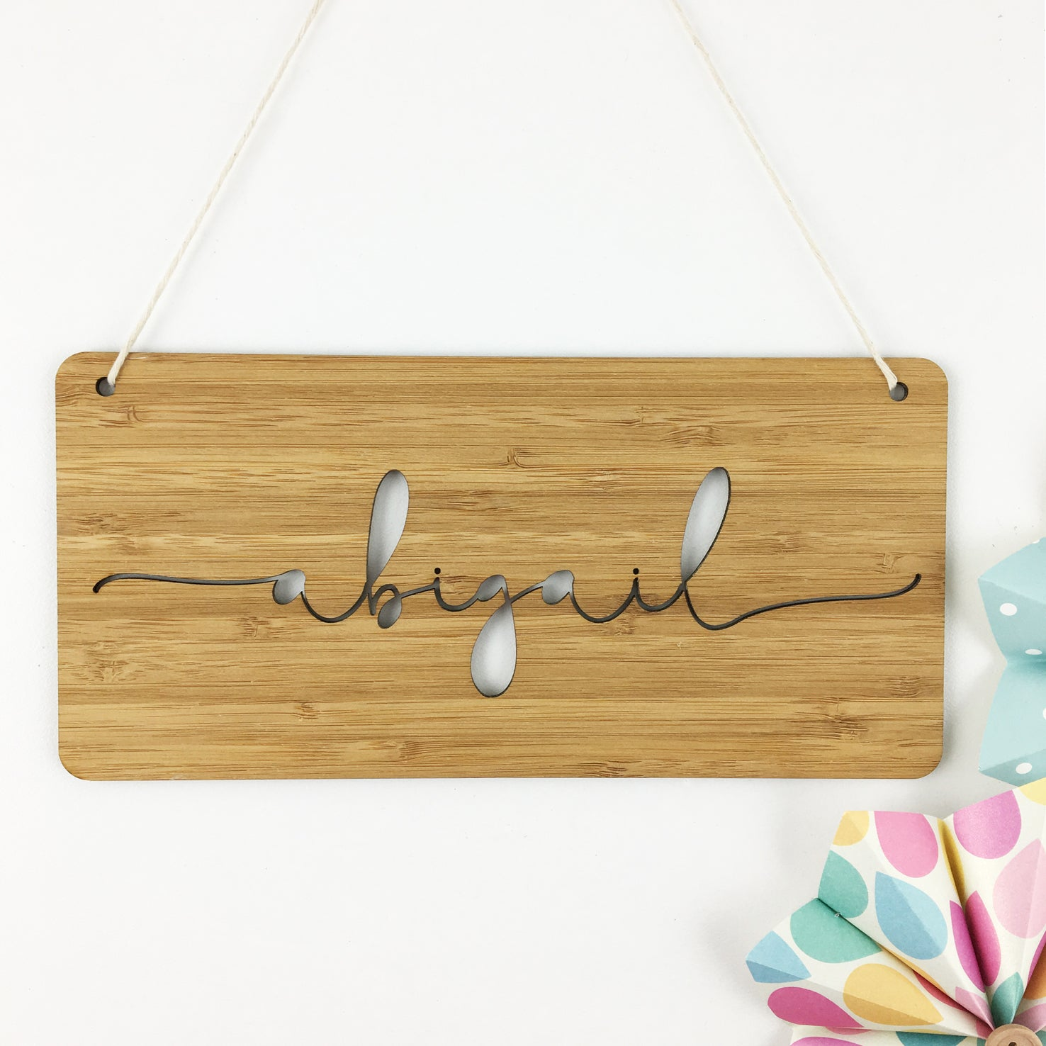Simple Script Landscape Name Wall Hanging