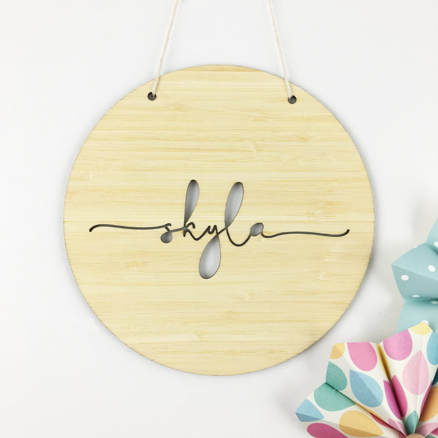 Simple Script Round Name Wall Hanging