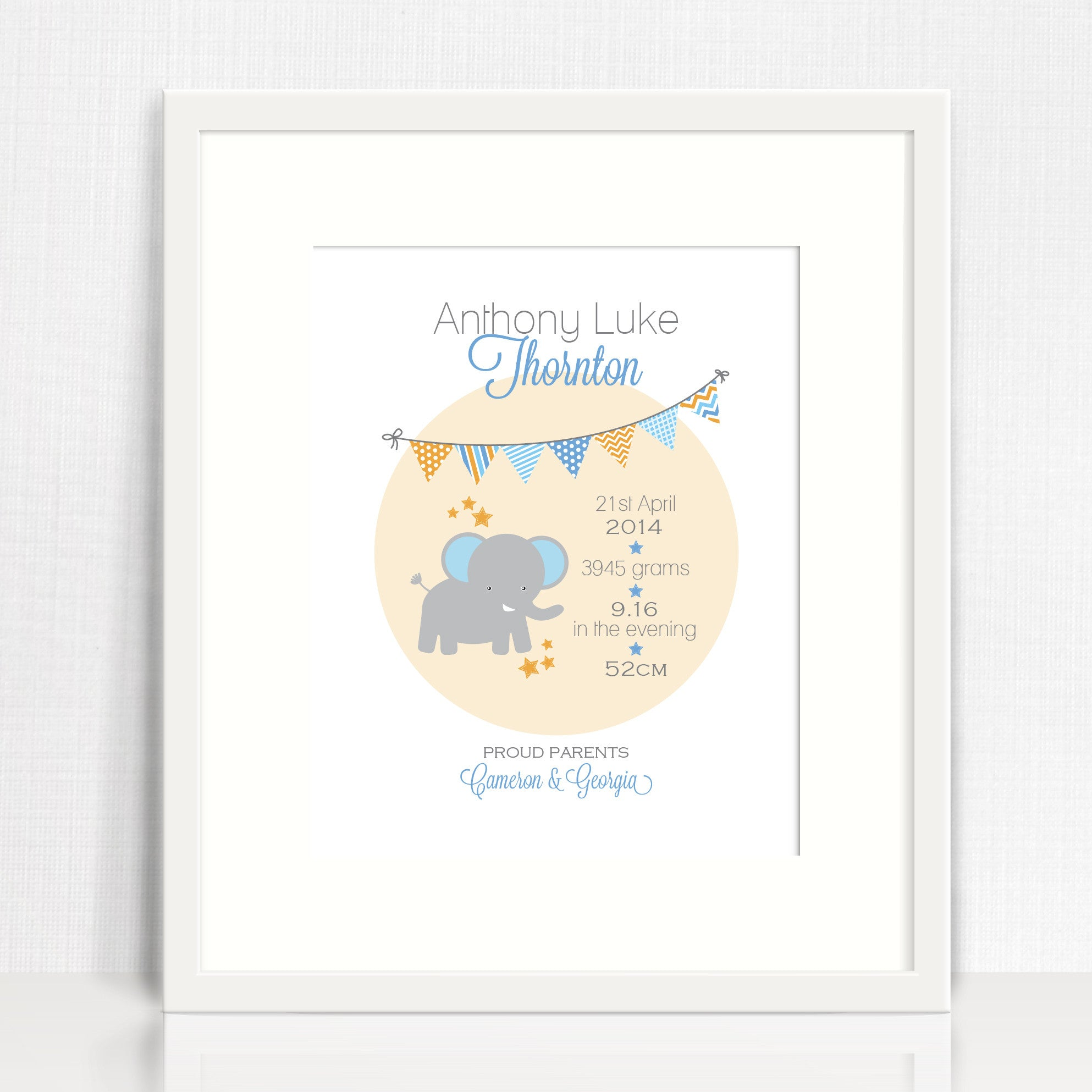 Elephant Bunting Birth Print
