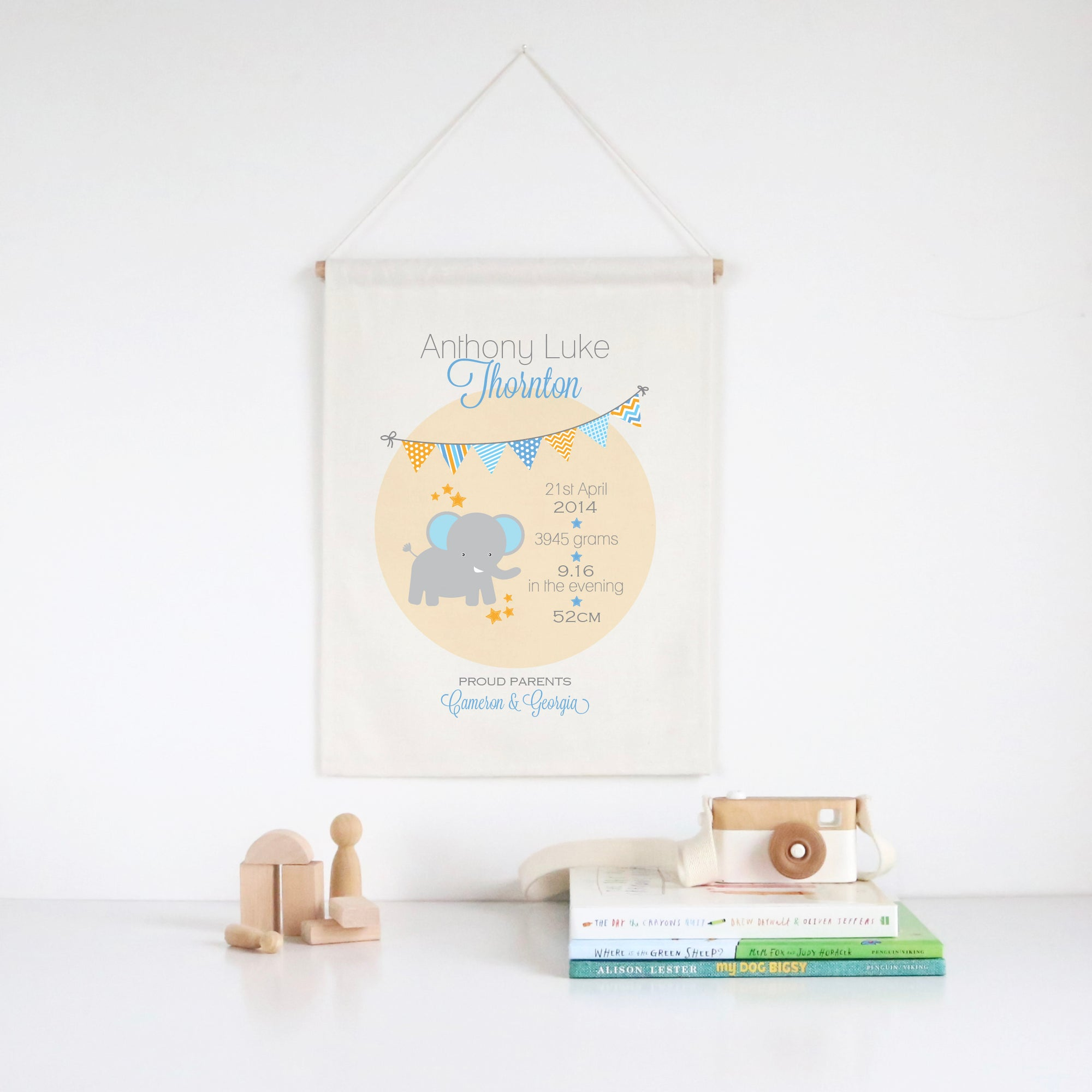 Elephant Birth Print Wall Banner