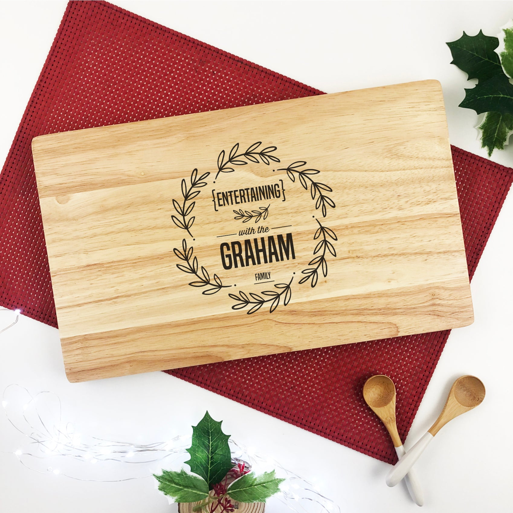Personalised Entertaining Wreath Serving Board