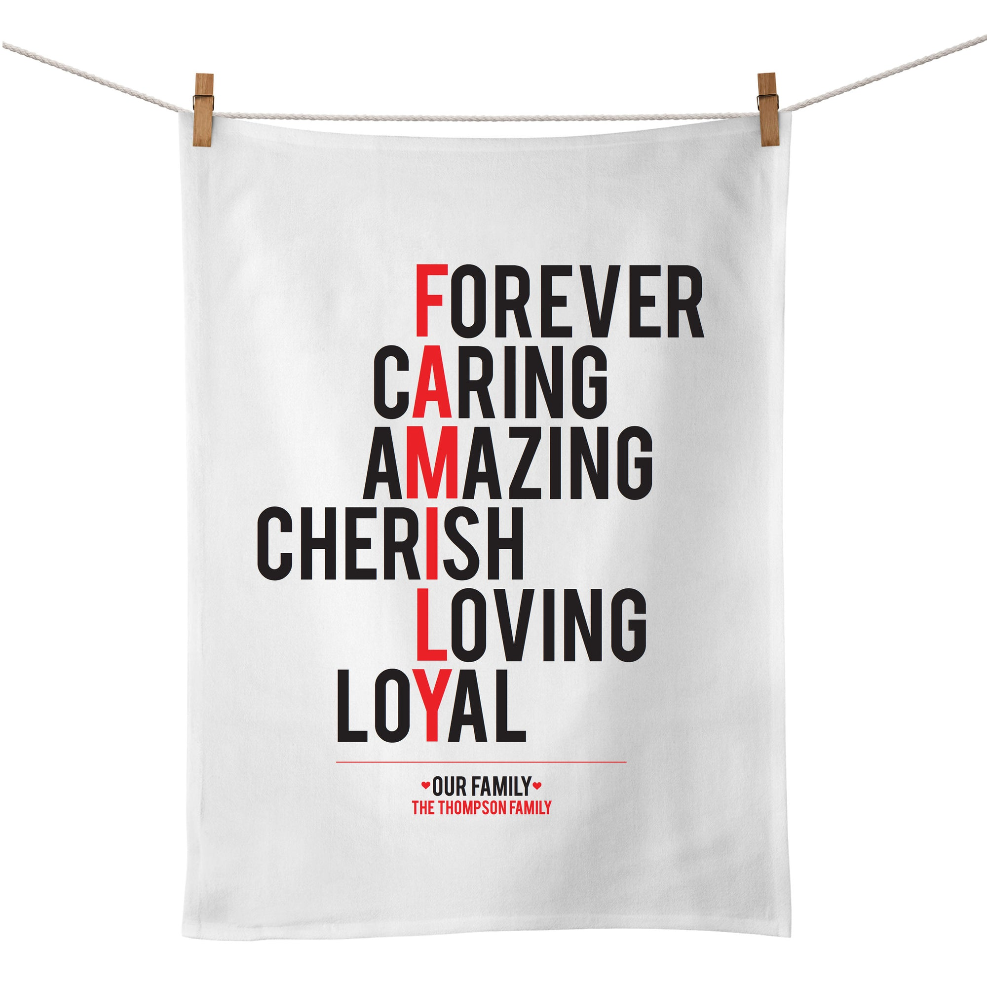 Family (typographic) Tea Towel