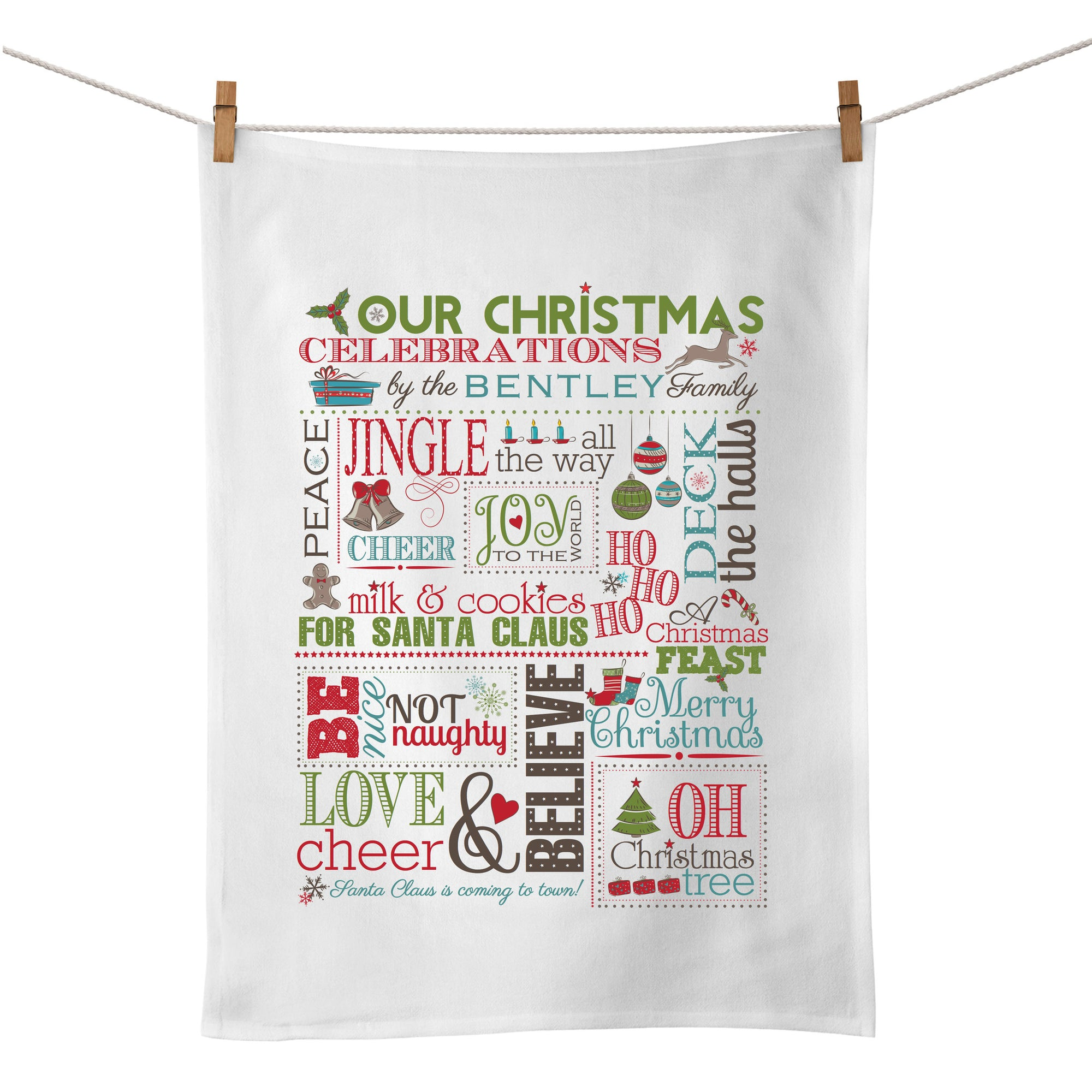 Family Christmas Chart Tea Towel