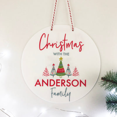 Family Bright Trees Christmas Wall Hanging