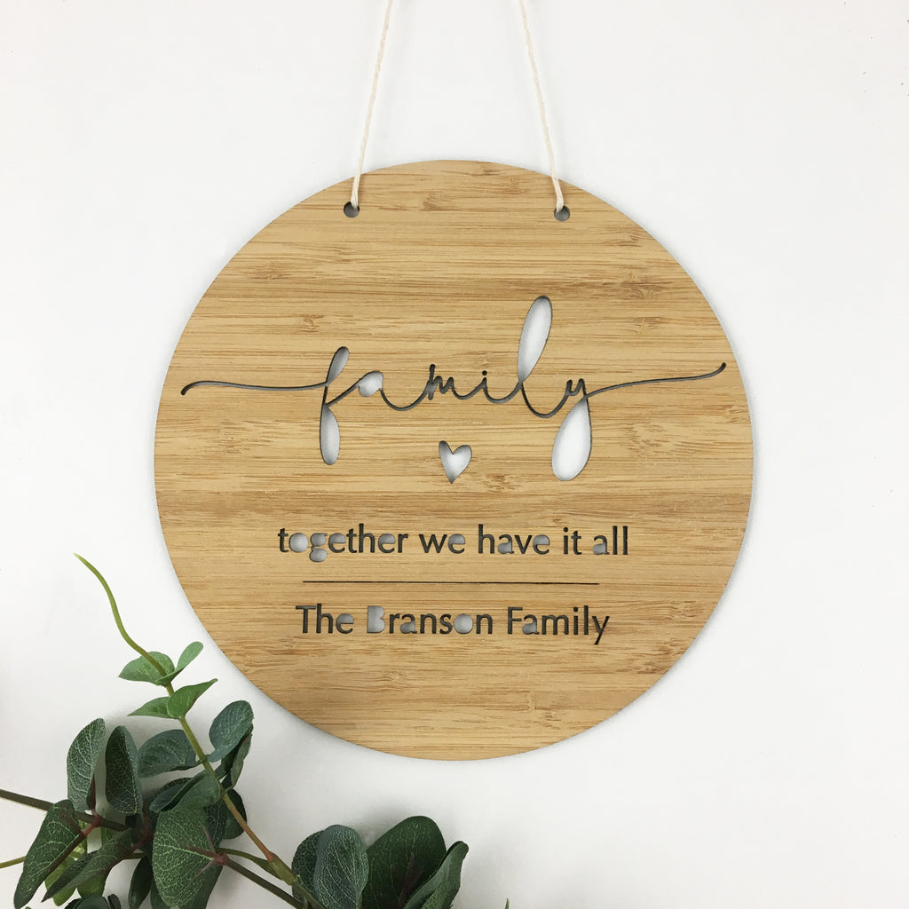 Family Simple Script Wall Hanging
