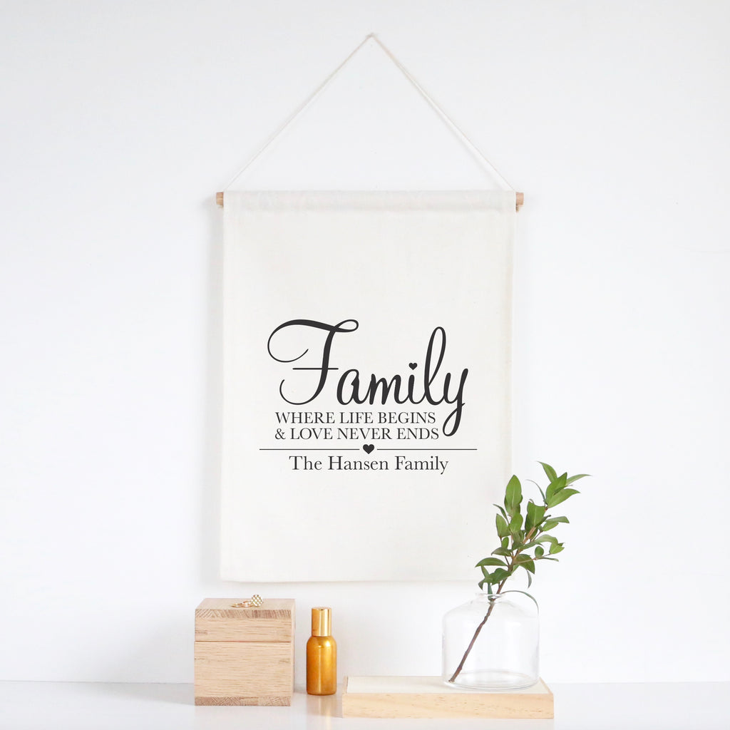 Family Where Life Begins Wall Banner