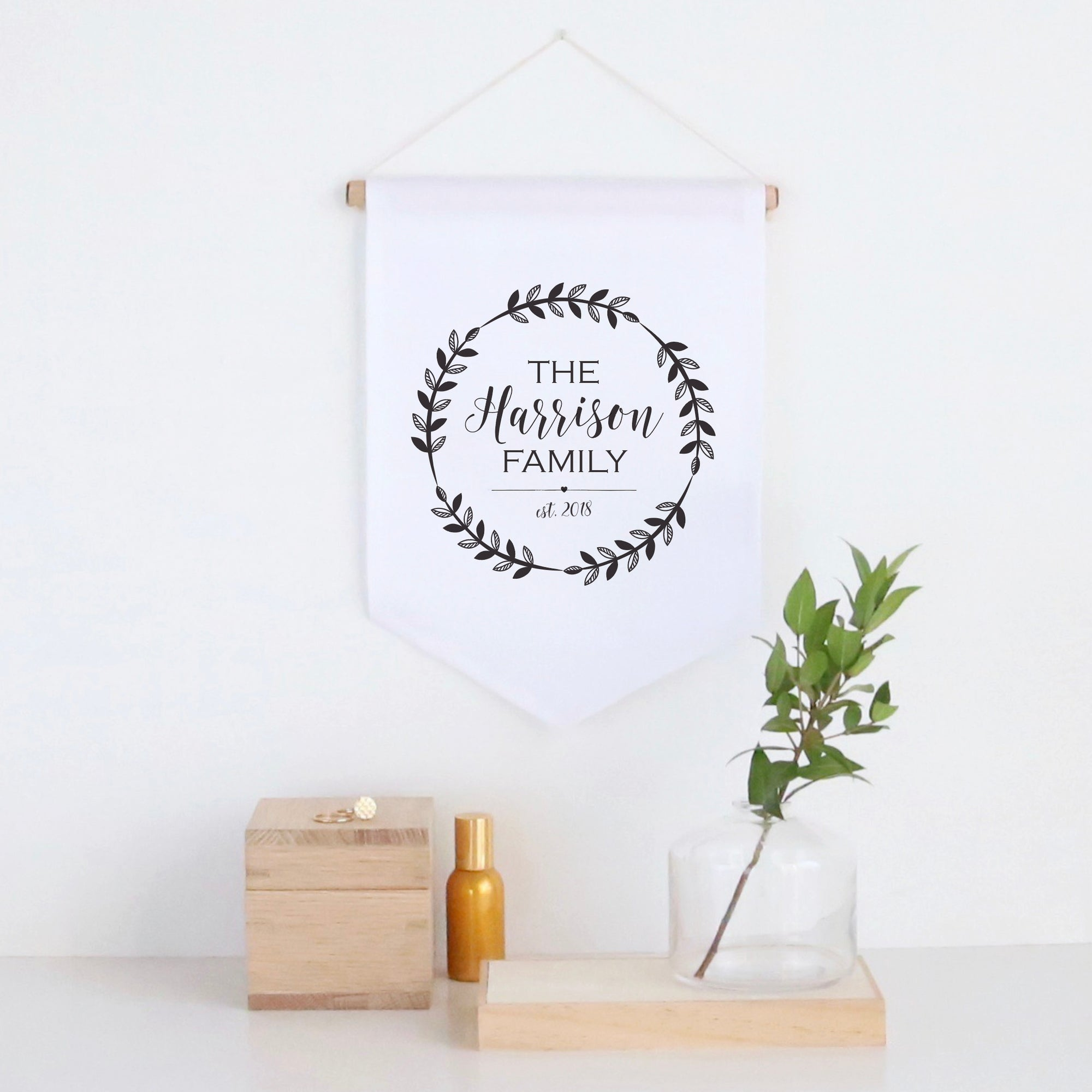 Family Wreath Pennant Wall Banner