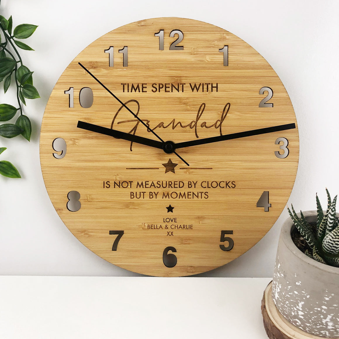 Time Spent Bamboo Wall Clock - Father's Day