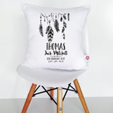 Feather Garland Birth Details Cushion Cover