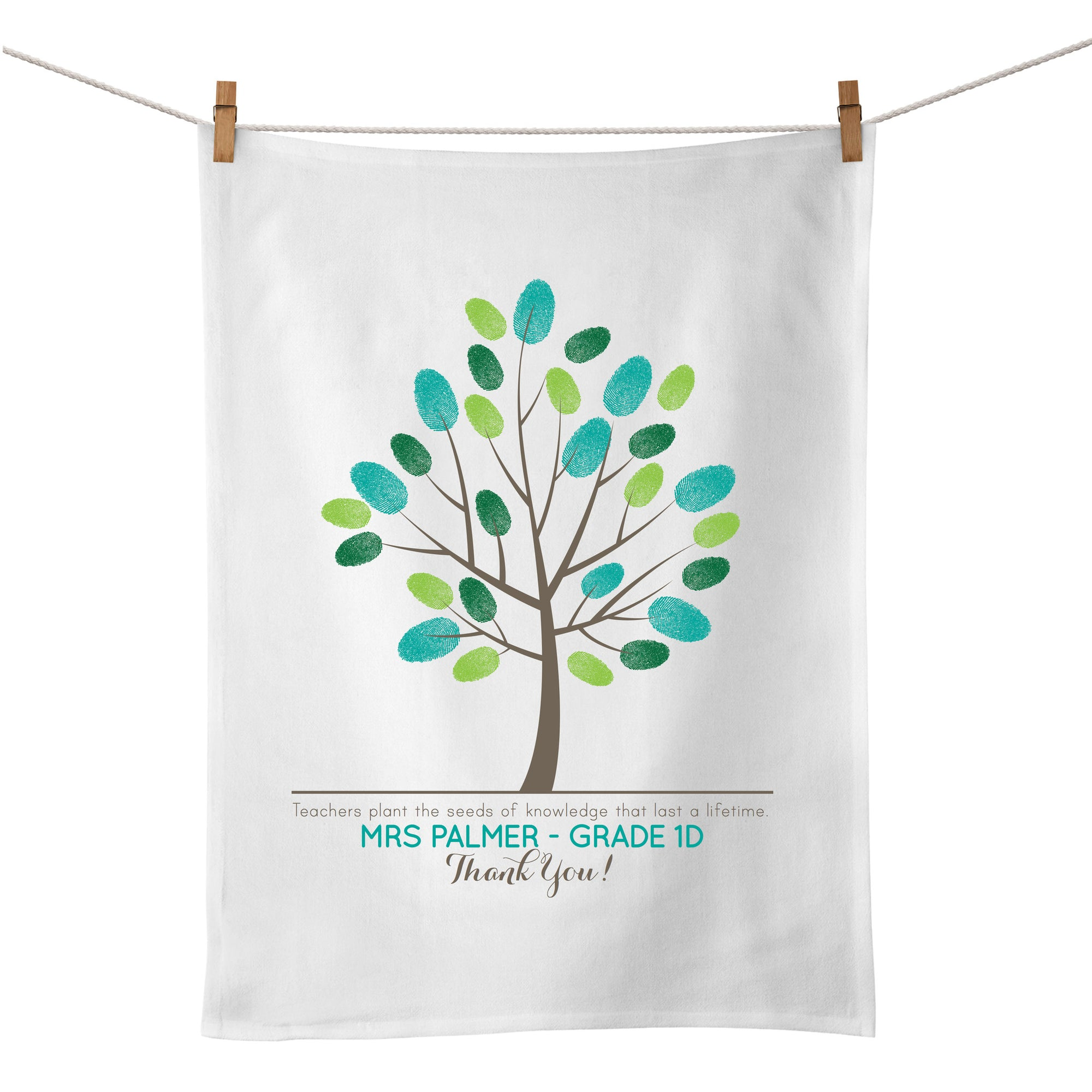 Fingerprint Tree Tea Towel