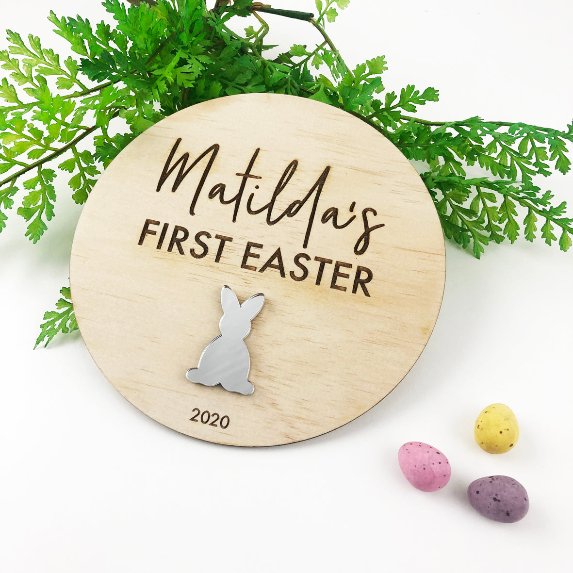 First Easter Mirror Bunny Plaque