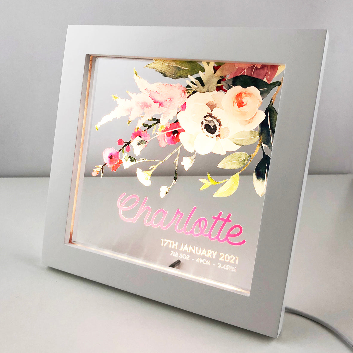 Flower Bouquet Personalised Light Frame