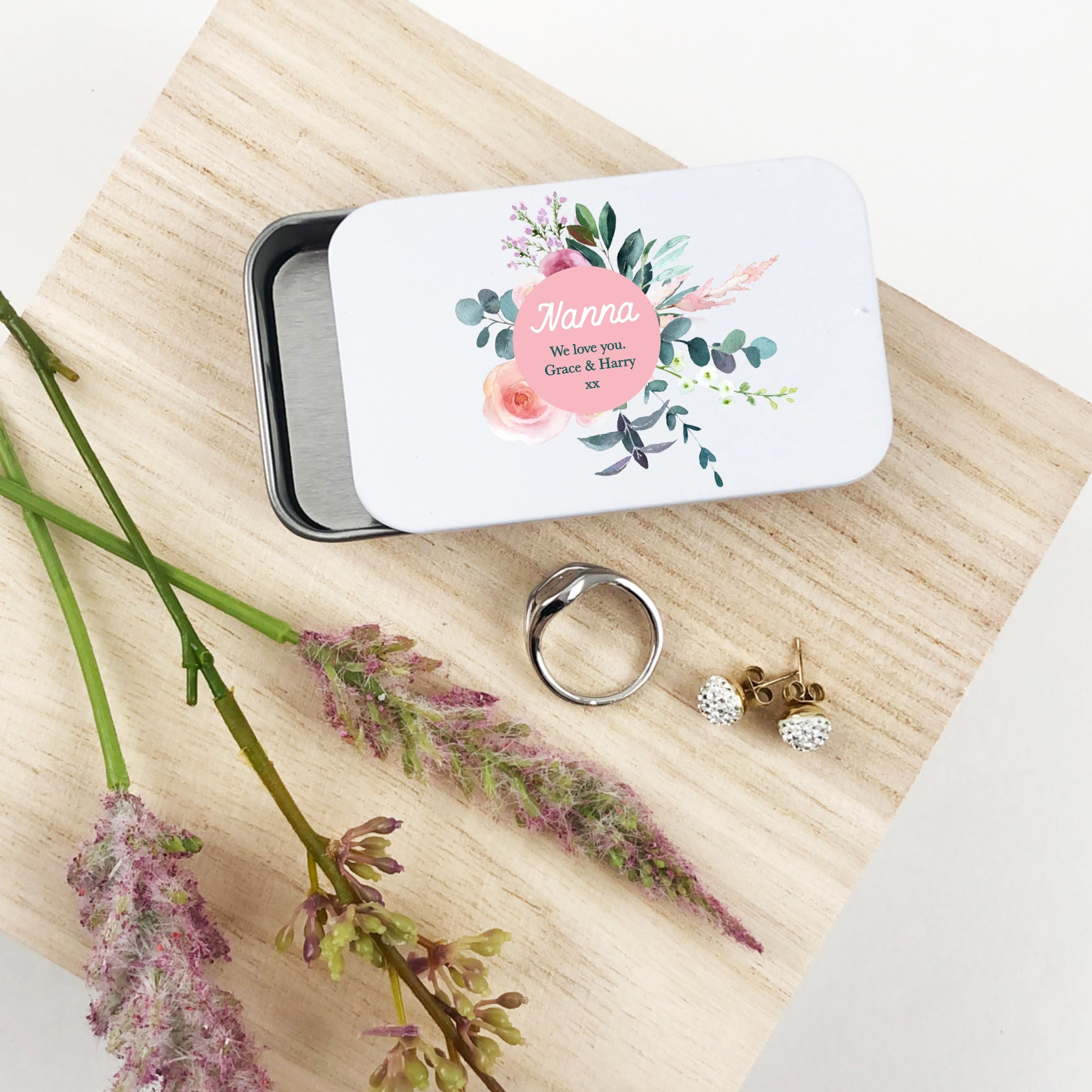 Floral Bouquet Gift Giving Tin