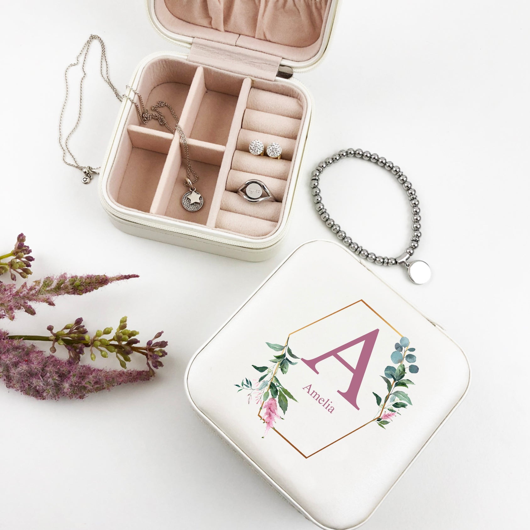 Floral Initial Jewellery Case - (Limited Quantity)