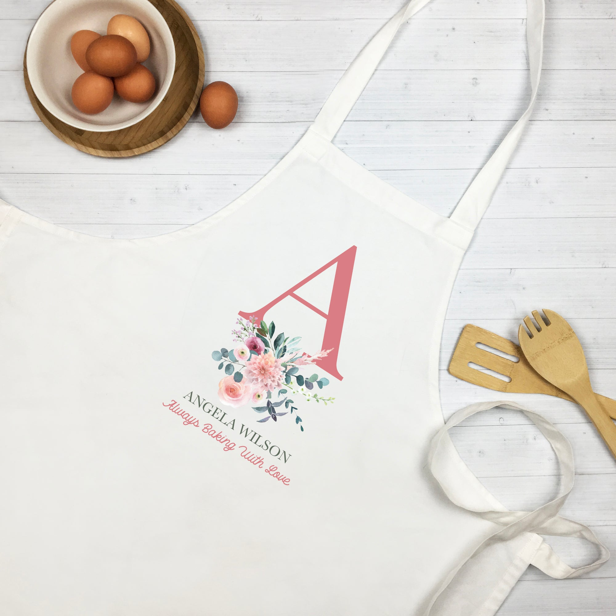 Personalised Floral Initial Apron