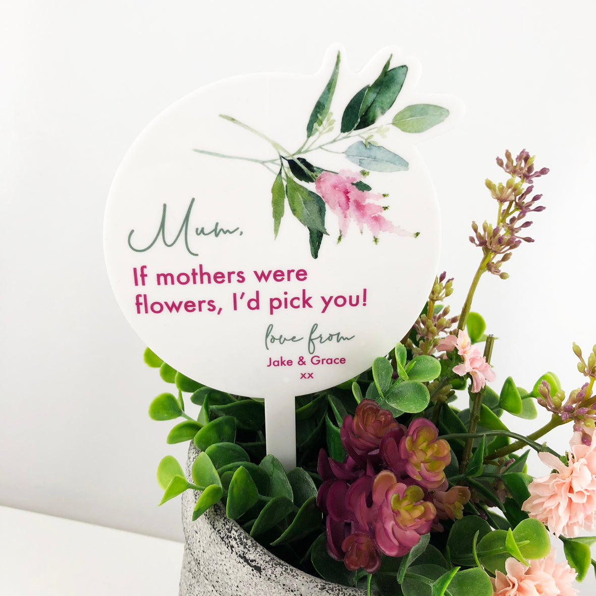 Mother's Day Floral Acrylic Printed Planter Stick