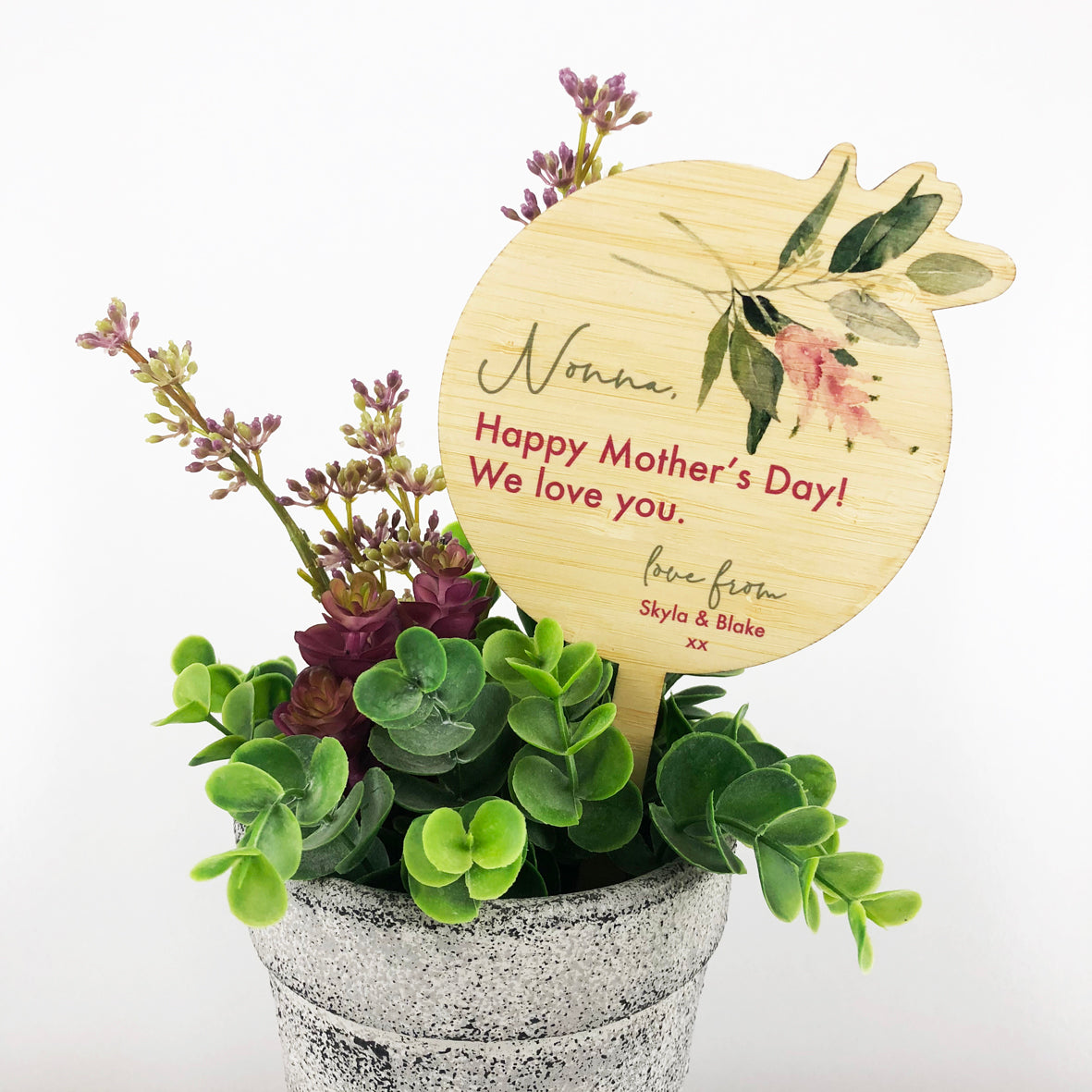 Mother's Day Floral Bamboo Printed Planter Stick