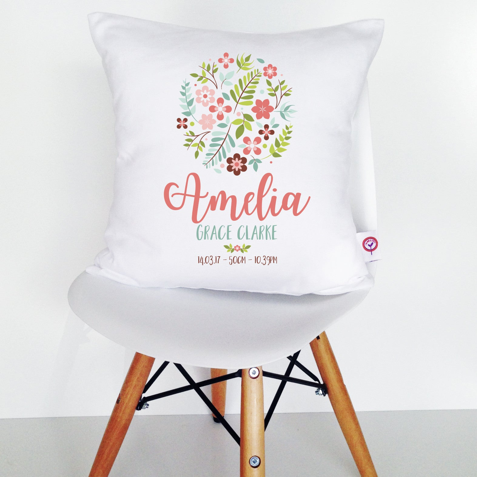 Floral Ball Birth Details Cushion Cover
