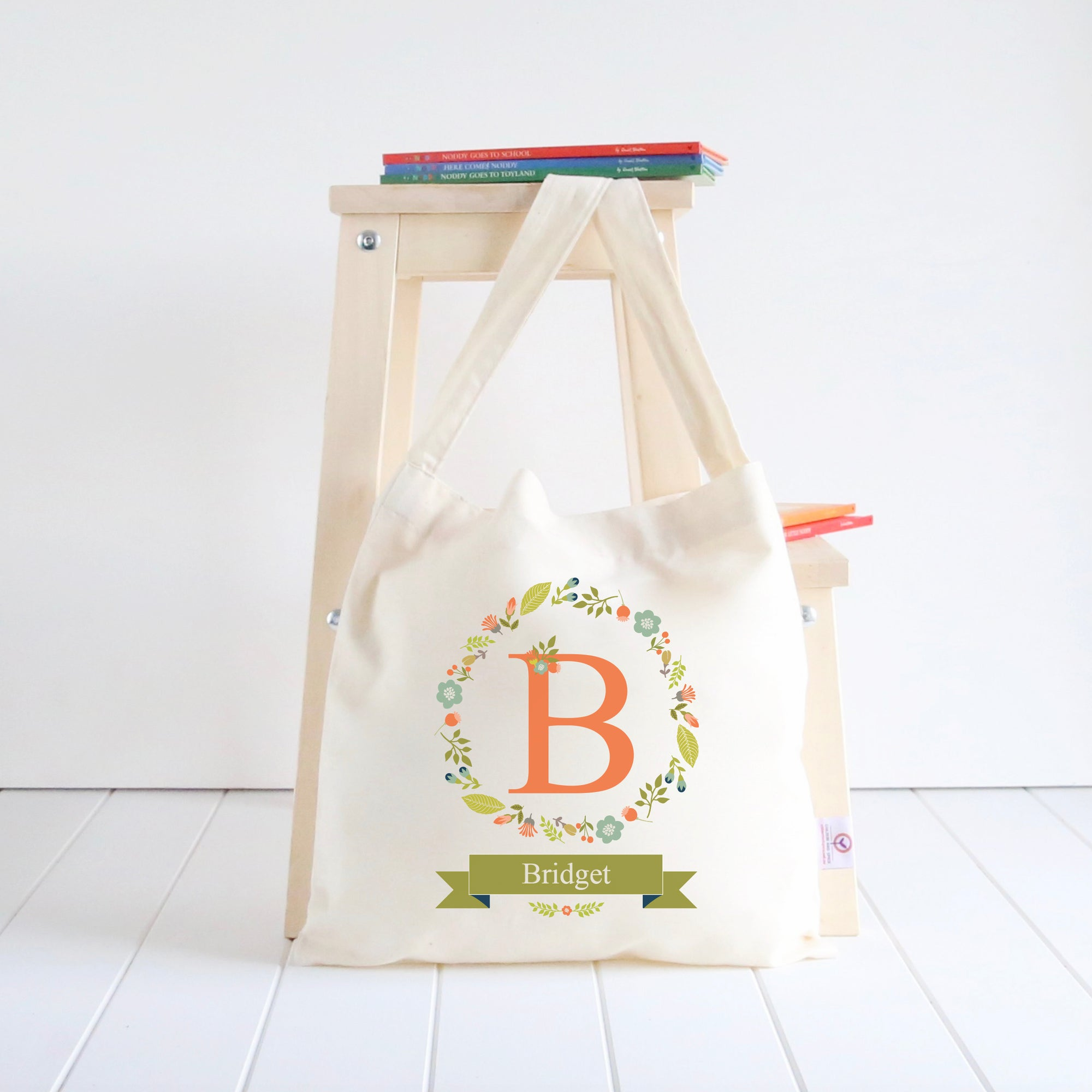 Floral Wreath Library Bag