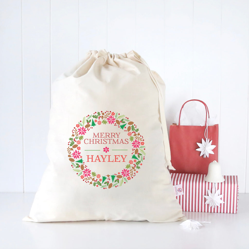 Floral Wreath Santa Sack