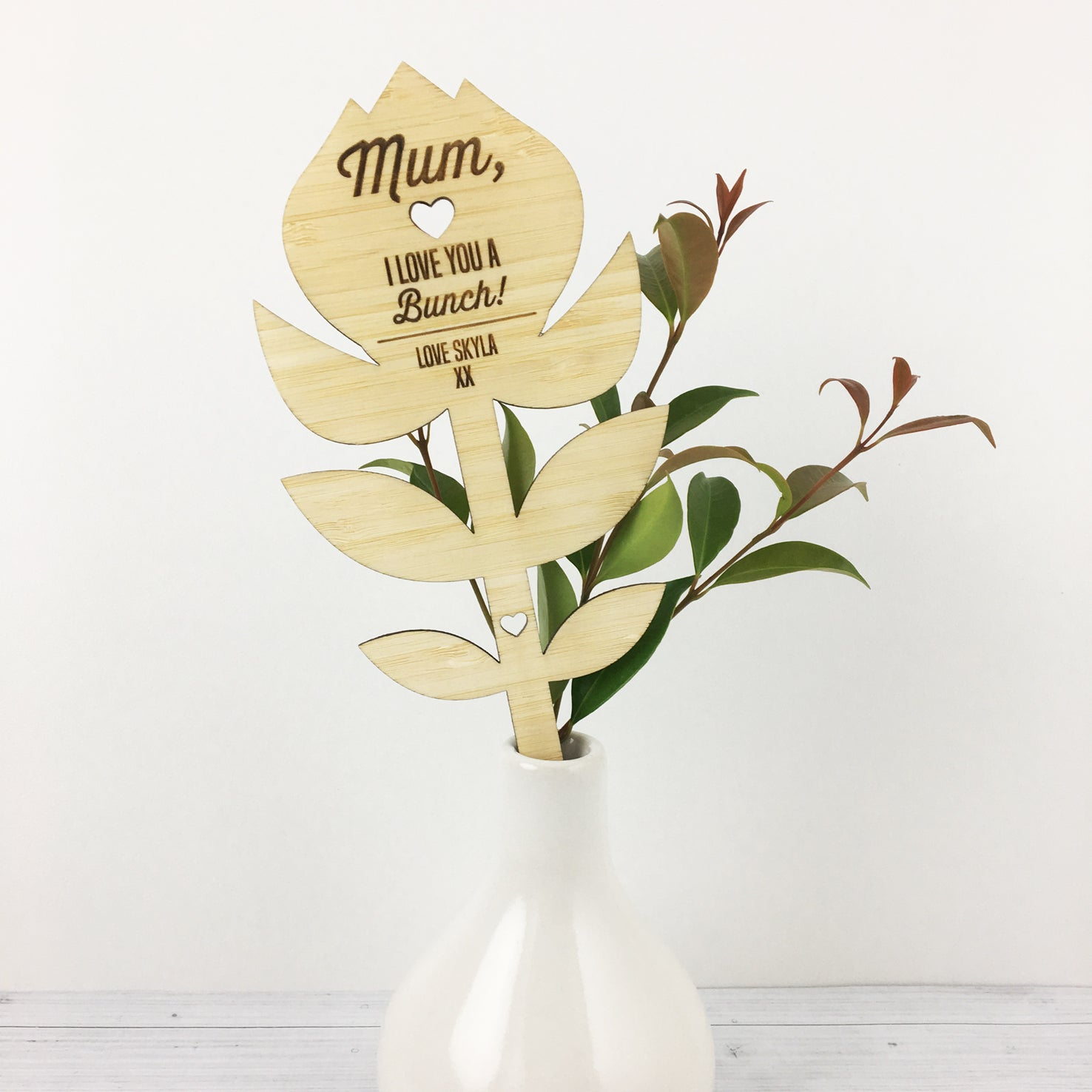 "Personalised ""I Love You A Bunch!"" Bamboo Flower"
